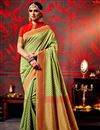 image of Mehendi Green Color Printed Party Wear Saree In Fancy Fabric