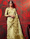 image of Beige Color Party Wear Printed Fancy Fabric Saree