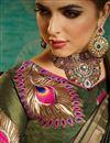 photo of Handloom Weaving Work Art Silk Mehendi Green Designer Fancy Saree