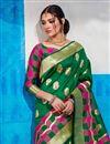 photo of Function Wear Fancy Green Embellished Saree In Art Silk