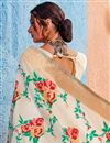 photo of Function Wear Fancy Off White Embellished Saree In Art Silk