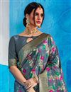 photo of Function Wear Fancy Grey Embroidered Art Silk Saree
