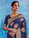 photo of Embroidered Wedding Wear Art Silk Saree In Navy Blue
