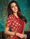 photo of Embroidery Designs On Red Art Silk Designer Saree