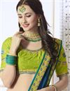 photo of Green Georgette Function Wear Fancy Saree With Embroidered Blouse