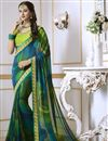 image of Green Georgette Function Wear Fancy Saree With Embroidered Blouse