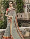 image of Cream Color Designer Party Wear Georgette Fabric Saree