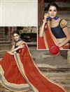 photo of Stylish Designer Orange Color Saree In Georgette And Jacquard Fabric