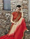photo of Cream And Red Color Designer Party Wear Georgette Fabric Saree