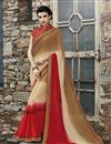 image of Cream And Red Color Designer Party Wear Georgette Fabric Saree