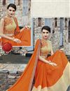 photo of Orange And Cream Color Designer Georgette Saree With Raw Silk Fabric Blouse