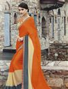 image of Orange And Cream Color Designer Georgette Saree With Raw Silk Fabric Blouse