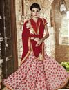image of Designer Party Wear Georgette Fabric Saree In Red And White Color