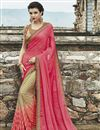 image of Designer Party Wear Georgette And Jacquard Fabric Saree In Pink And Cream Color