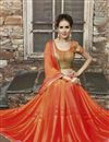 photo of Orange Color Party Wear Designer Saree In Chiffon And Jacquard Fabric