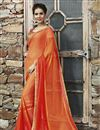 image of Orange Color Party Wear Designer Saree In Chiffon And Jacquard Fabric