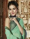 photo of Cyan And Grey Color Designer Party Wear Georgette Fabric Saree