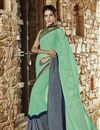 image of Stylish Designer Cyan And Grey Color Saree In Georgette Fabric