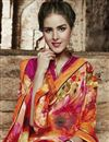 photo of Orange Color Designer Georgette Saree With Raw Silk Fabric Blouse
