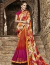 image of Orange Color Designer Georgette Saree With Raw Silk Fabric Blouse