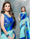 image of Cyan And Blue Color Party Wear Saree In Georgette Fabric With Raw Silk Blouse