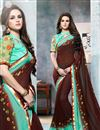 image of Party Wear Georgette Fabric Saree In Brown Color With Raw Silk And Net Fabric Blouse