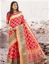 image of Art Silk Fabric Puja Wear Red Designer Weaving Work Saree