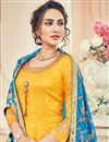 photo of Eid Special Mustard Art Silk And Jacquard Function Wear Floor Length Anarkali With Fancy Dupatta