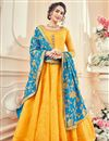 image of Eid Special Mustard Art Silk And Jacquard Function Wear Floor Length Anarkali With Fancy Dupatta