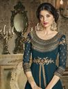 picture of Navy Blue Fancy Embroidered Art Silk Designer Anarkali Dress