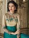 picture of Fancy Function Wear Art Silk Designer Teal Embroidered Anarkali Dress