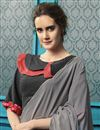 photo of Grey Party Style Georgette Fabric Thread Embroidered Saree