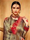 photo of Traditional Spectacular Red Art Silk Party Wear Saree With Weaving Work