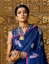 photo of Designer Saree In Blue Art Silk Fabric With Weaving Work And Party Wear Blouse