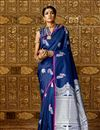 image of Designer Saree In Blue Art Silk Fabric With Weaving Work And Party Wear Blouse