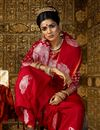 photo of Art Silk Fabric Red Weaving Work Party Wear Saree With Designer Blouse