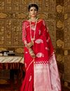 image of Art Silk Fabric Red Weaving Work Party Wear Saree With Designer Blouse