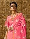 photo of Weaving Work Art Silk Fabric Pink Color Function Wear Saree With Designer Blouse