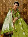 photo of Green Color Designer Saree With Weaving Work On Art Silk Fabric