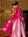 photo of Weaving Work Wedding Wear Saree In Rani Art Silk Fabric With Attractive Blouse