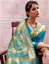 photo of Wedding Special Art Silk Sky Blue Designer Saree With Weaving Work