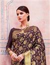 photo of Art Silk Brown Designer Saree With Weaving Work