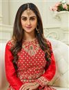 photo of Krystle Dsouza Fancy Function Wear Red Color Silk Designer Floor Length Anarkali Salwar Suit