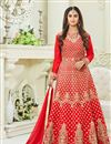 image of Krystle Dsouza Fancy Function Wear Red Color Silk Designer Floor Length Anarkali Salwar Suit