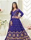image of Krystle Dsouza Festive Wear Blue Color Silk Long Floor Length Designer Anarkali Dress