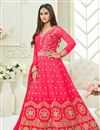 image of Krystle Dsouza Festive Wear Pink Color Silk Long Floor Length Designer Anarkali Dress