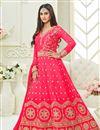 image of Krystle Dsouza Festive Wear Pink Color Silk Long Floor Length Designer Anarkali Dress
