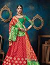 image of Wedding Special Sangeet Ceremony Wear Red Color Silk And Jacquard Fabric Fancy Lehenga Choli