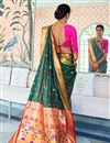 photo of Art Silk Sangeet Function Wear Teal Designer Weaving Work Saree