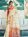 image of Designer Sangeet Function Wear Art Silk Weaving Work Saree In Beige